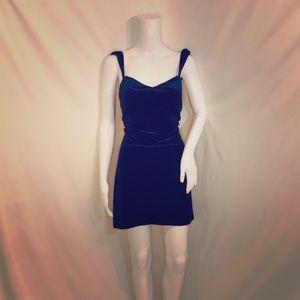 Navy Blue Velvet Nasty Gal Cutie Dress! Low Back!